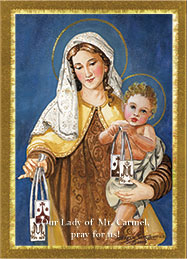 Our Lady of Mt. Carmel Prayer Card.