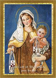 Our Lady of Mt. Carmel Prayer Card.