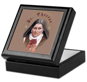 Saint Therese with a Rose Keepsake/Rosary Box by Teresa Satola, Ltd.