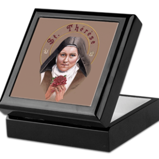 Saint Therese with a Rose Keepsake/Rosary Box by Teresa Satola, Ltd.