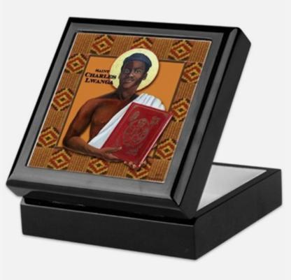 Saint Charles Lwanga keepsake/rosary box black lacquer