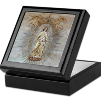 Mary Help of Christians Blk Keepsake:Rosary box