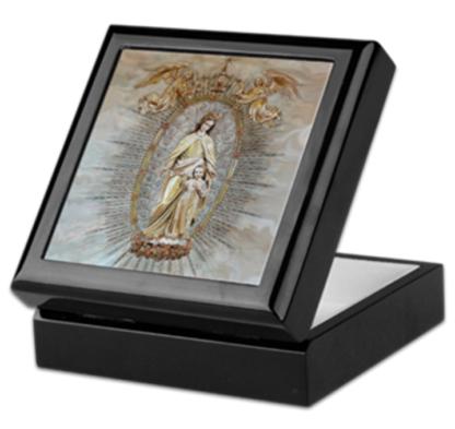 Mary Help of Christians Blk Keepsake:Rosary box