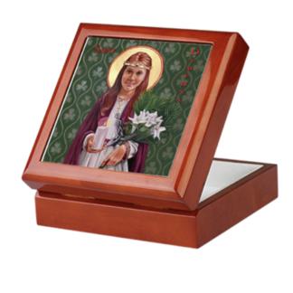 St. Dymphna Mahogany Keepsake/Rosary Box